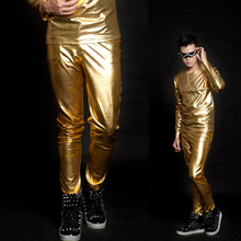 27-44 !!! 2017,Men's clothing costume male bling gold edition novelty fashion gold slim  Men's trousers   The singer's clothing
