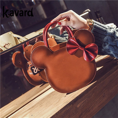 Fashion Bow Women Leather MINI Handbags Bolsa Feminina Designer High Quality Crossbody Bag Ladies Famous Cartoon Shoulder Bags qweek luxury handbags women bags designer 2017 pu leather shoulder bag female printing bolsa feminina mini flap crossbody bags