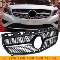 ABS Diamond Front Grill Grille for Mercedes Benz W176 A CLASS A180 A200 A260 A45 AMG 2013 2014 2015 2016 Without Star Logo