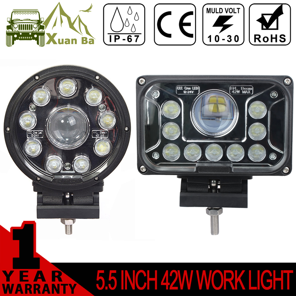 XuanBa 2Pcs 5 inch 42W Round Square Led Work Light For Truck Trailer Motorcycle 12V 4x4 Off road Hi-lo Combo Beam Driving Lamp