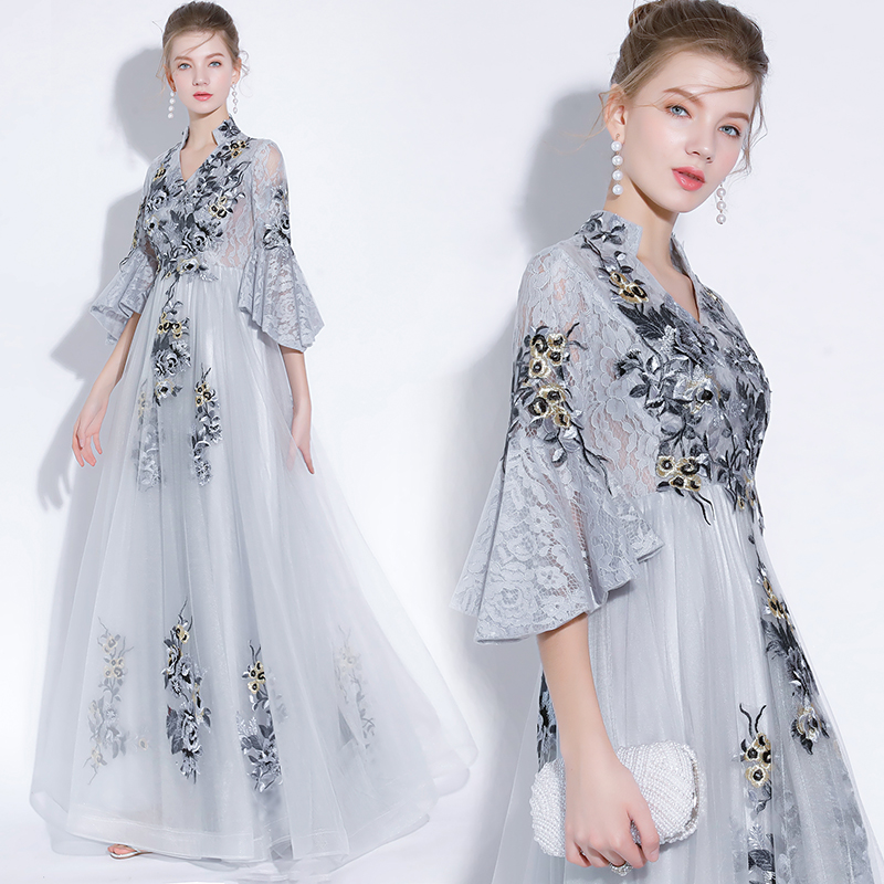 Beauty Emily Grey Lace   Evening     Dresses   2019 O Neck A line Formal Party Prom   Dresses   Floor-length Court Train   Evening   Gown