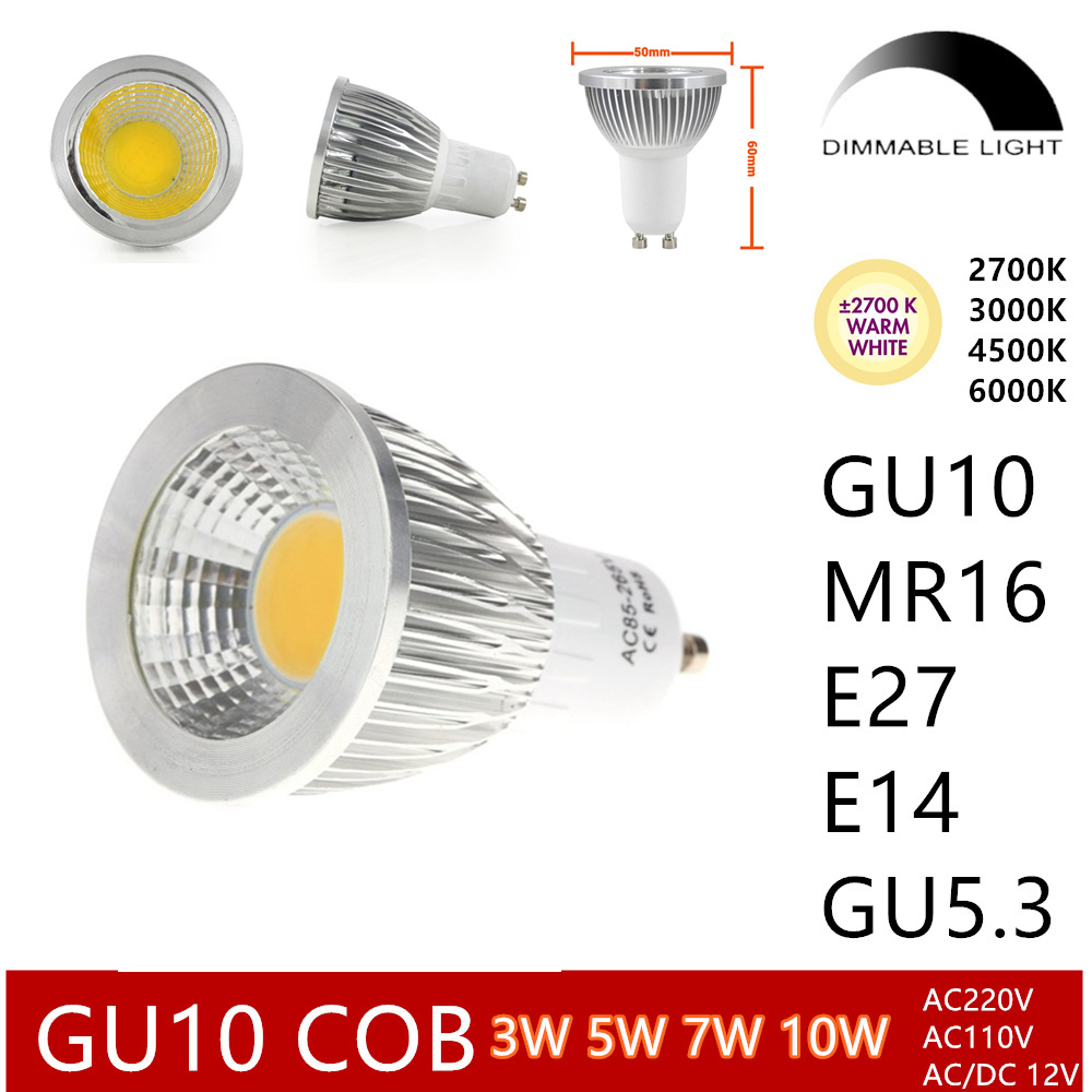 10pcs GU10 cob dimmable led bulb E27 E14 spotlight 3w 5w 7w 10w e27 mr16 warm white 2700k 3000k white real power halogen bulb