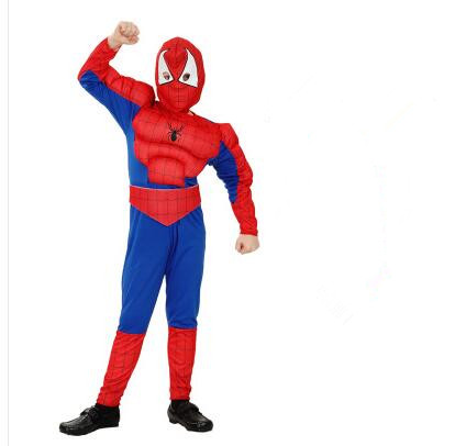 Free shipping new 110-140cm spiderman superhero cosplay costume for 4-12 years boy kid birthday party gift