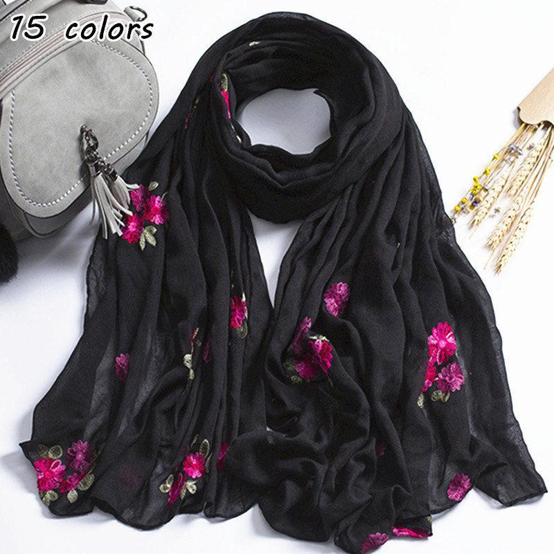 15 colors embroider flowers scarf Muslim hijab scarves sweet floral soft plain maxi shawl soft foulard pretty winter wrap shawls