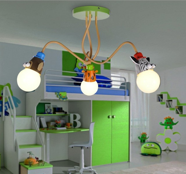 Childrens room cartoon ceiling lampsmodern boy girl bedroom cute iron art lights cartoon creative