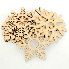 50 Pcs Assorted Wooden Snowflake Xmas Wedding Tree Hanging Ornament Decoration