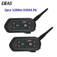 2 шт EJEAS E6 Multifunctio мотоцикл домофон VOX BT гарнитура шлем домофон Bluetooth домофон для 6 гонщиков 1200 м коммуника