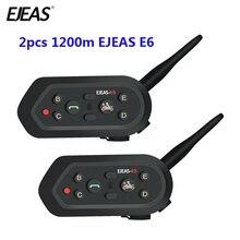 2 pcs EJEAS E6 Multifunctio 오토바이 인터폰 복스 BT 헤드셋 헬멧 인터폰 블루투스 인터폰 6 라이더 1200M Communica