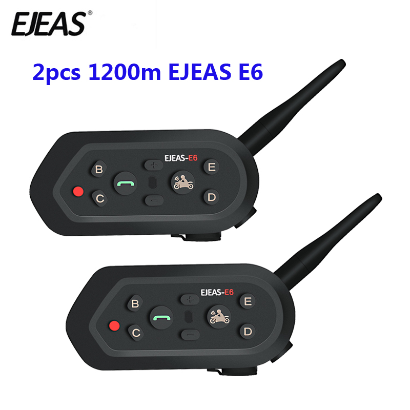 2 pcs EJEAS E6 Multifunctio Motorcycle Intercom VOX BT Headset Helmet Interphone Bluetooth Intercom for 6 Riders 1200M Communica