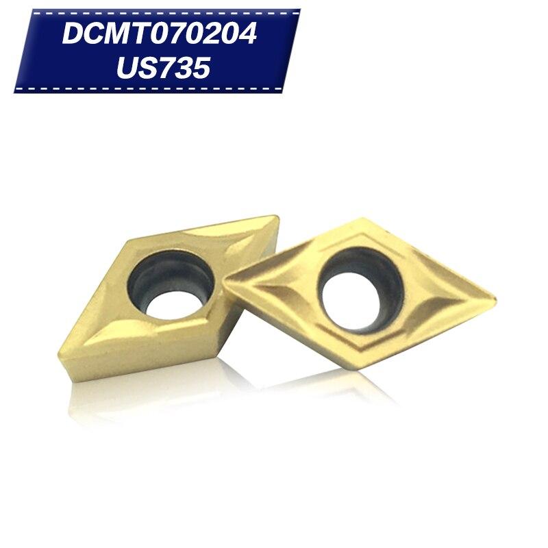 100Pcs Internal Turning Tools DCMT070204 US735 Carbide inserts Lathe cutter Cutting Tool CNC Tools Tokarnyy