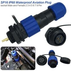 Sp16 ip68 à prova dip68 água conector macho plug & fêmea soquete 2/3/4/5/6/7/8/9 pinos montagem em painel fio conector de cabo de aviação plug