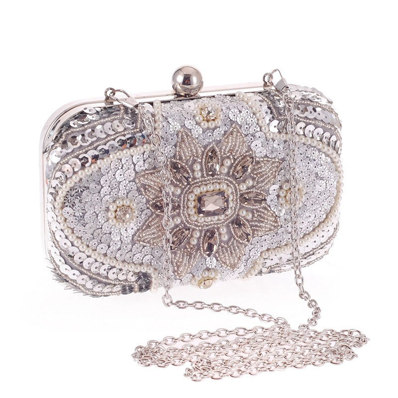 American Fashion Brand Silver Sequins Flower Appliques Women Evening Bags Clutches Bridal Beaded Crystal Metal Handbags Purse