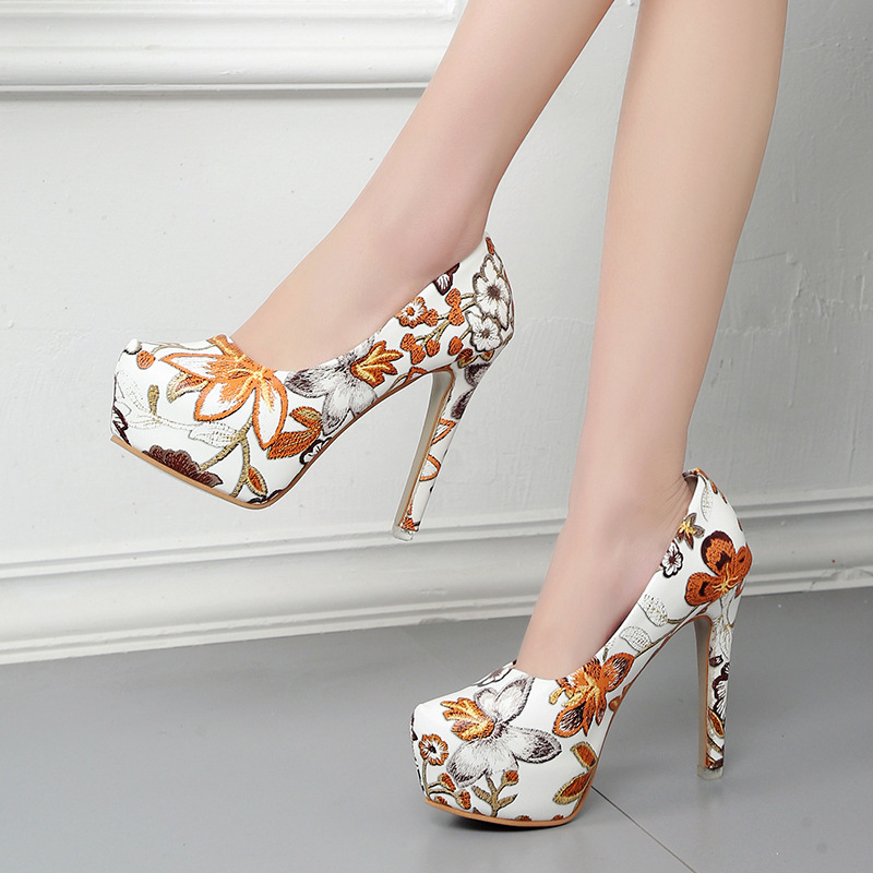 Women Fashion Pumps 13CM Printing Platform Women Shoes High Heels Sexy Thin Heels High Bling Shoes Ladies zapatos para mujer apoepo brand 2017 zapatos mujer black and red shoes women peep toe pumps sexy high heels shoes women s platform pumps size 43