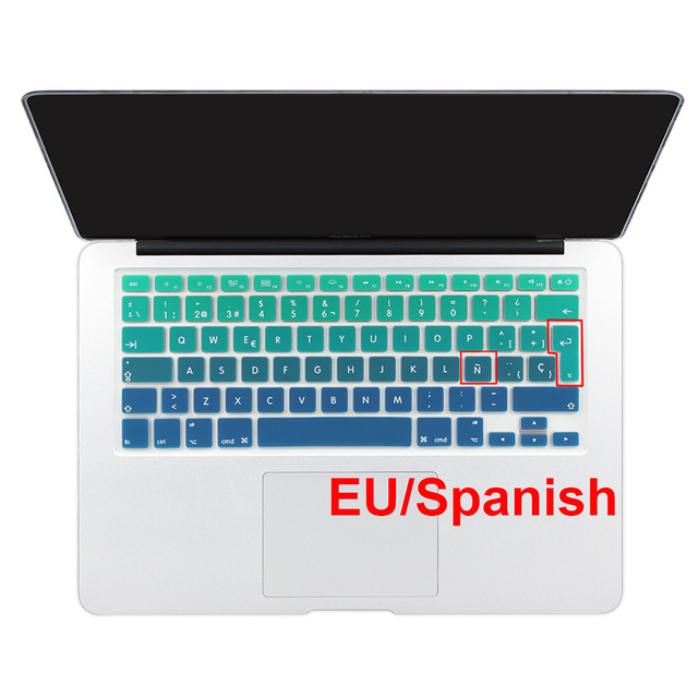 Euro Spanish English Russia water Dust proof keyboard cover for macbook air 13 protector Gradual