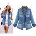 Plus Size 5XL Jaquetas Jeans Para As Mulheres Magro Washed Jeans Casacos de Outono Do Vintage da American Apparel Jaqueta Feminina