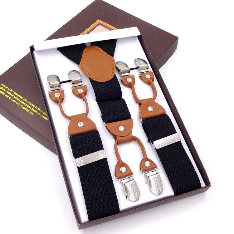 High Quality 3.5Cm Wide Plus Size 115cm Length Men Adjustable Six Clip-on Suspenders Braces For Taller