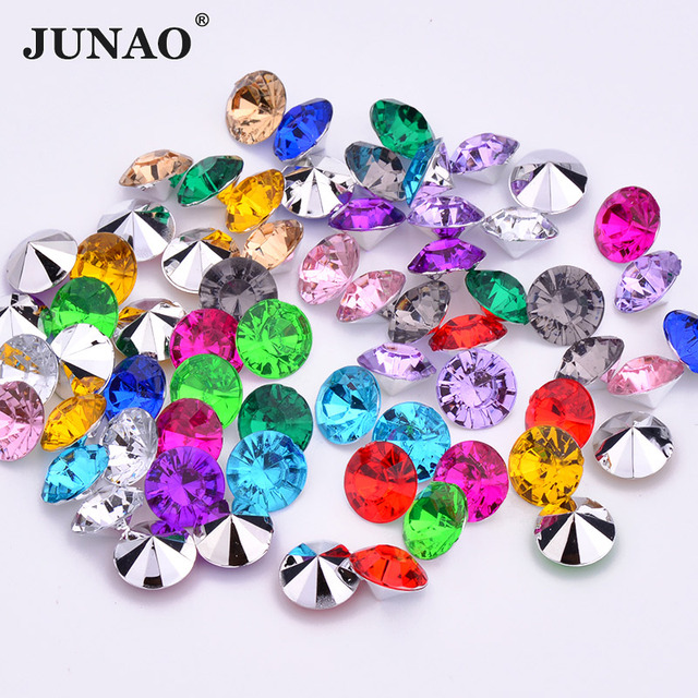 JUNAO 3 6 8 10mm Mix Color Pointback Acrylic Rhinestones Round Nail Crystal  Stones Non Sewing Scrapbook Beads for Jewelry 53b5e294465f