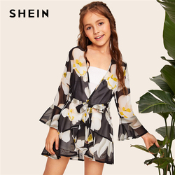 SHEIN Kiddie Girls Floral Print Ruffle Trim Sheer Kimono With Belt 2019 Summer Long Sleeve Boho Open Front Children Long Tops