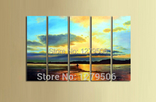 Hand Painted Modern Abstract Setting Sun Beach On Canvas Handcraft Seaside Landscape Oil Paintings Wall Decor Art For Home