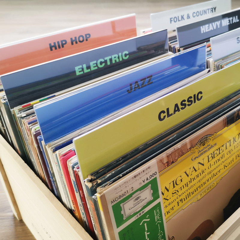 Genre 12 Inch Record Dividers Organizer Tab Acrylic Cards For Turntable Storage Record Albums Organization