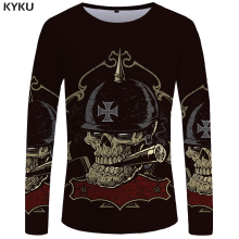 KYKU Brand Skull Long sleeve T shirt Germany Tshirt Military Clothes Punk Tops Gothic Funny shirts  Tees Men Fashion Top Tee