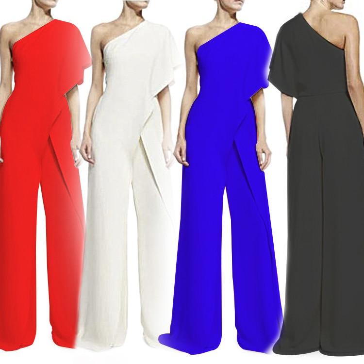 One Single Shoulder Bodysuit for Evening Party Sexy Elegant Irregular OL European Style Business Jumpsuit Fashion Women Bodysuit