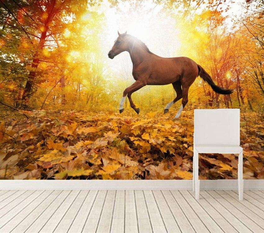 Custom 3d murals,Horses Autumn Run Foliage Animals wallpapers papel DE parede,living room sofa tv wall bedroom 3d wallpaper