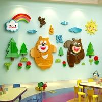 Bear Cartoon Wall Stickers 3D Stereo Children Room Decoration Bedroom Acrylic Small Animal Nursery Wall Sticker