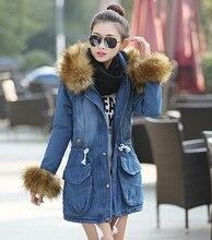 Plus Size S-2XL Women Fur Hooded Slim Waist Waddded Denim Coat Fashion Winter Jacket Women Thicken Jeans Outwear H6808