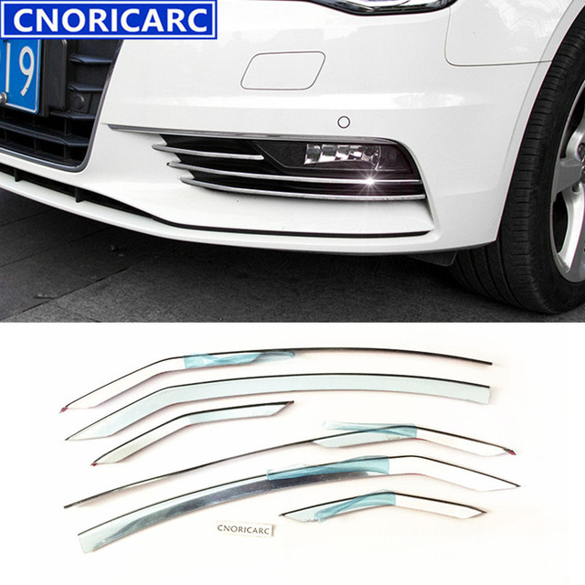 CNORICARC Stainless Steel Car Front Fog Lamp Trim Strips For Audi A3 Sedan Auto Lights Decoration Sticker Exterior Accessories