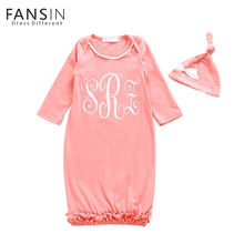 Fansin Brand New Autumn And Winter Newborn Baby Clothing Lovely Purfle Pink Dress With Hat 2Pcs/Set Clothes For Kid Girl Dresses