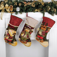 3PCS Santa Claus Pendant Christmas Ornaments New Year Socks Decorations for Home Merry Tree