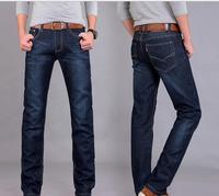 ECTIC Nvren Men Jeans Business Casual Thin Summer Straight Slim Fit Blue Jeans Stretch Denim Pants