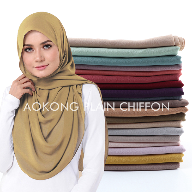 One Piece Women Solid Plain Bubble Chiffon Scarf Wraps Soft Long Islam Foulard Aokong Shawls Muslim Georgette Scarves Hijabs