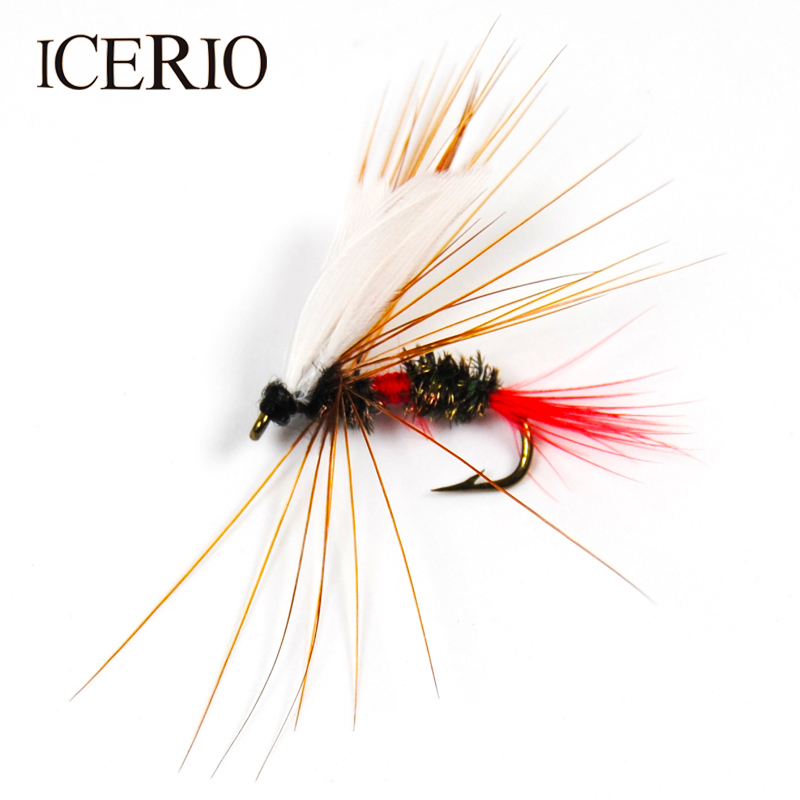 ICERIO 10PCS Royal Wulff Dry Flies for Trout Fly Fishing Bait Size #10 wifreo 10pcs 10 black zebra mosquito fly trout fishing dry flies fly fishing bait lures