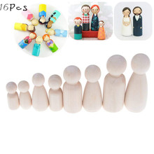 16pcs Unfinished Wood Peg Dolls Bodies Assorted Wooden People Shapes Madera for DIY Arts and Crafts Set