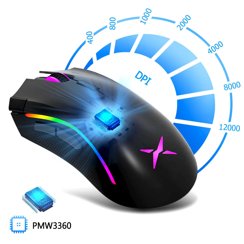 Delux M625 PMW3360 Sensor Gaming Mouse 12000 DPI 12000FPS 7 Tombol RGB Backlight Kabel Optik Tikus dengan Api Kunci untuk FPS Gamer