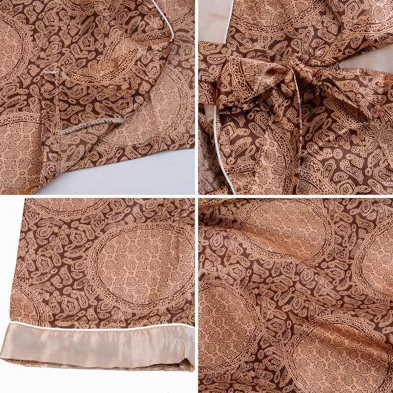 Бренд Новый плюс размер 5XL халат для мужчин пижамы халат кимоно Модный Принт мягкий шелк длинный рукав удобная мужская ночная рубашка халат