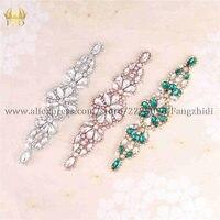 FZD 10 Pieces Handmade Sew on Hotfix Crystal Stones Diamond Shape Applique for Wedding Dresses Headbands Bridal Garters
