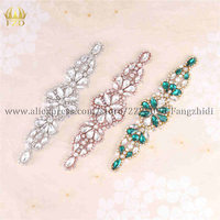 FZD 10 Pieces Handmade Sew on Hotfix Crystal Stones Diamond Shape Applique for Wedding Dresses Headbands Bridal Garters