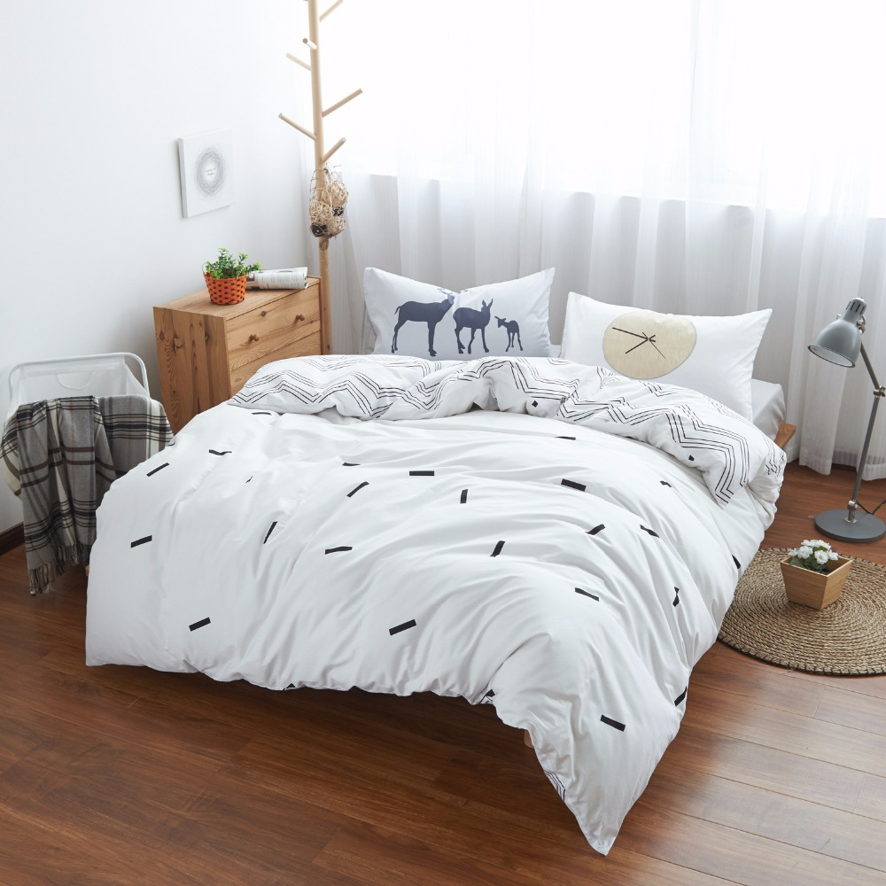 White cotton bed sheets - 100 Cotton Deer Time Bedding Set Gray Bed Sheets White Duvet Cover Comforter Sets Custom Size
