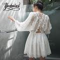 Yackalasi mulheres dress ilhós bordado floral solto ocasional o-pescoço feminino praia verão vestidos de fiesta off white