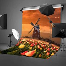 150x220cm Beautiful Tulips Garden Backdrop Large Windmill Dusk View Photography Background
