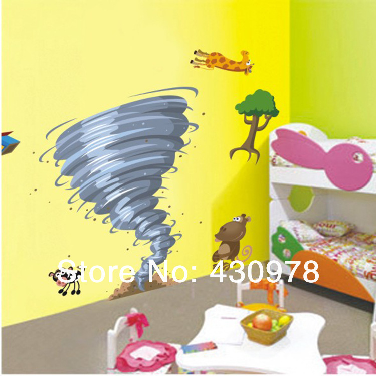 QZ694 Free Shipping 1Pcs Cute Cartoon <font><b>African</b></font> Animals Zoo Strong tornado Removable PVC Wall Stickers <font><b>Home</b></font> <font><b>Decoration</b></font> Gift