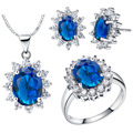 Jewelry set for women fashion colorful stone jewelry silver plated necklaces rings stud earrings Jewelry Sets