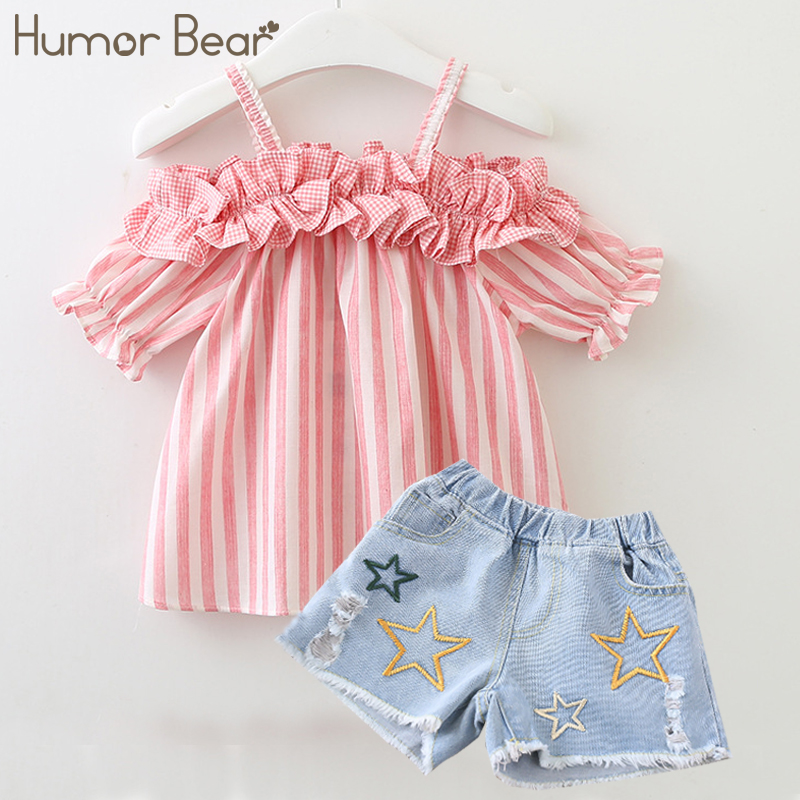 Humor Bear Girls Clothes 2018 Brand Stripe Design Girls Clothing Sets baby clothes Condole Belt Tops+Pant 2-6Y zutano unisex baby candy stripe pant