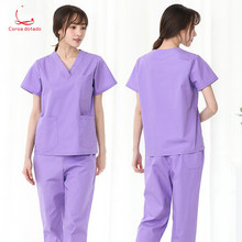 Pure cotton operating room doctor wear hospital isolation clothes mens short sleeve brush hand work