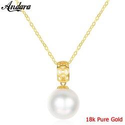 Prawdziwa czysta 18 k złota biżuteria 6 kolor wisior z naturalną perłą naszyjniki moda proste kobiety naszyjnik