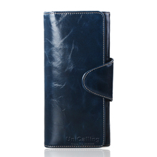 Fashion brand European and American Style solid color hasp wallet women mini long leather purse Oil Wax Cowhide Card Holder