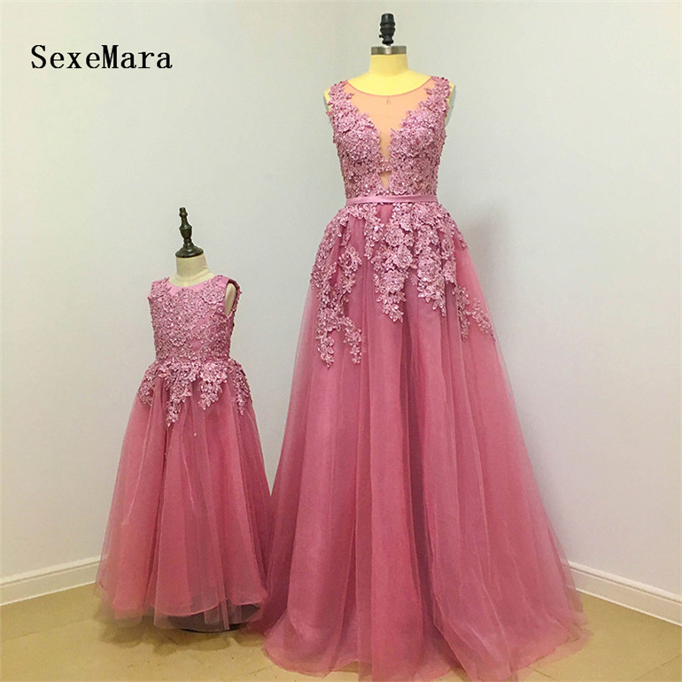 New Dusty Pink Flower Girl Dress Lovely Mother and Daughter Gown Beaded Lace Floor Length Tulle Girls Pageant Gown Custom Made